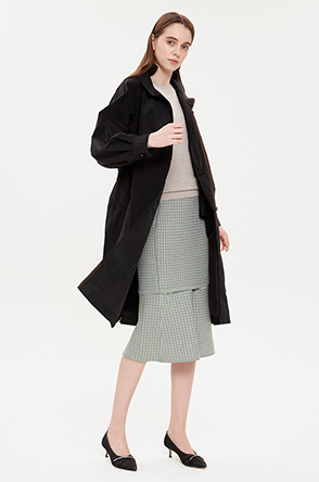 Frill neck trench coat