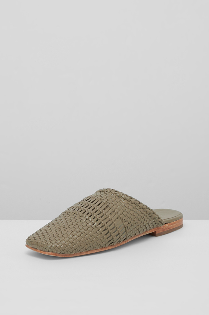 Weaving leather mules