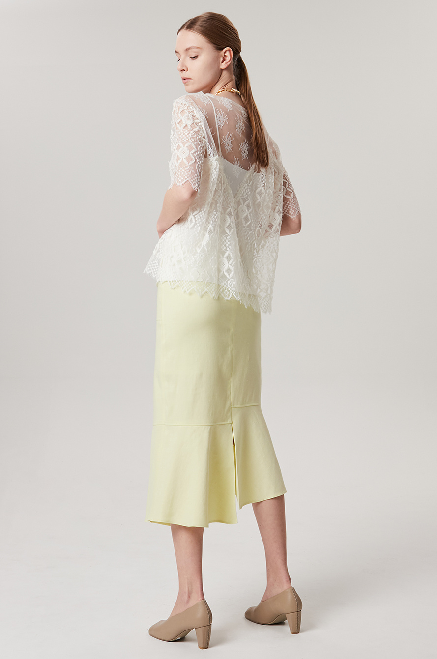 Tulle lace see-through top