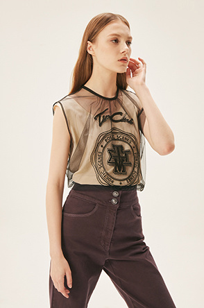 embroidered tulle top
