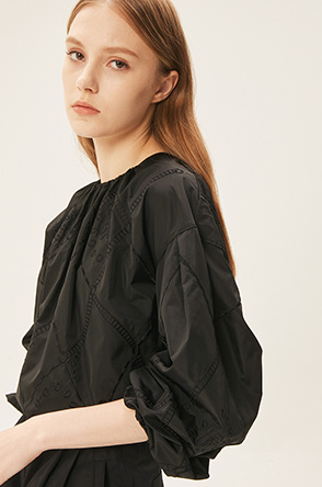 argyle embroidered top