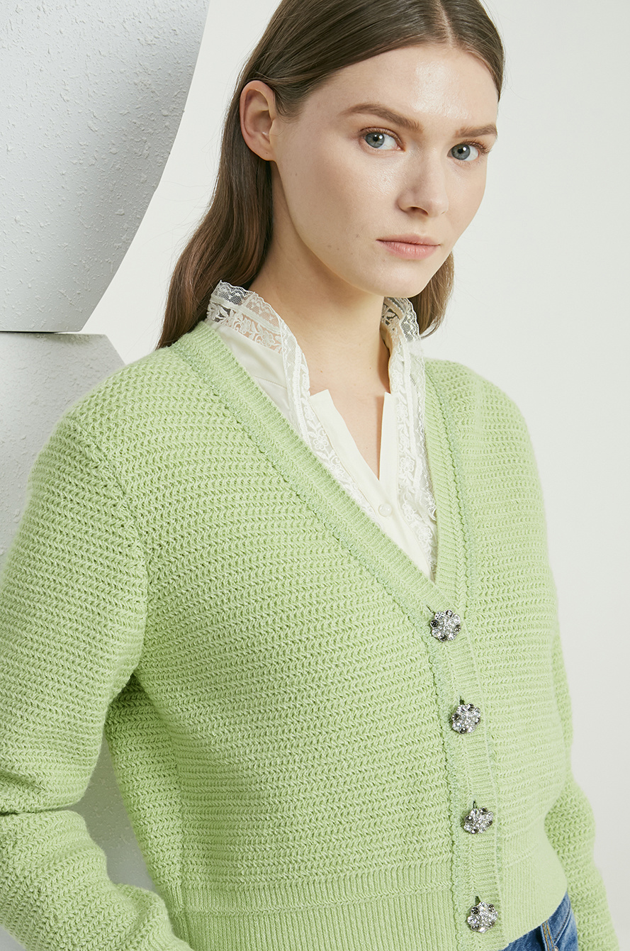 Crop knit cardigan