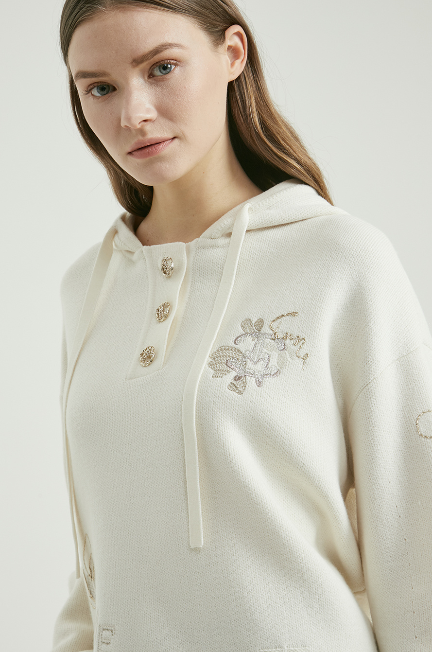 Embroidery & sequin hood knit top