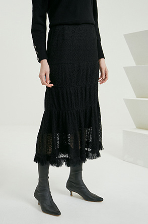 Tulle layer lace skirt