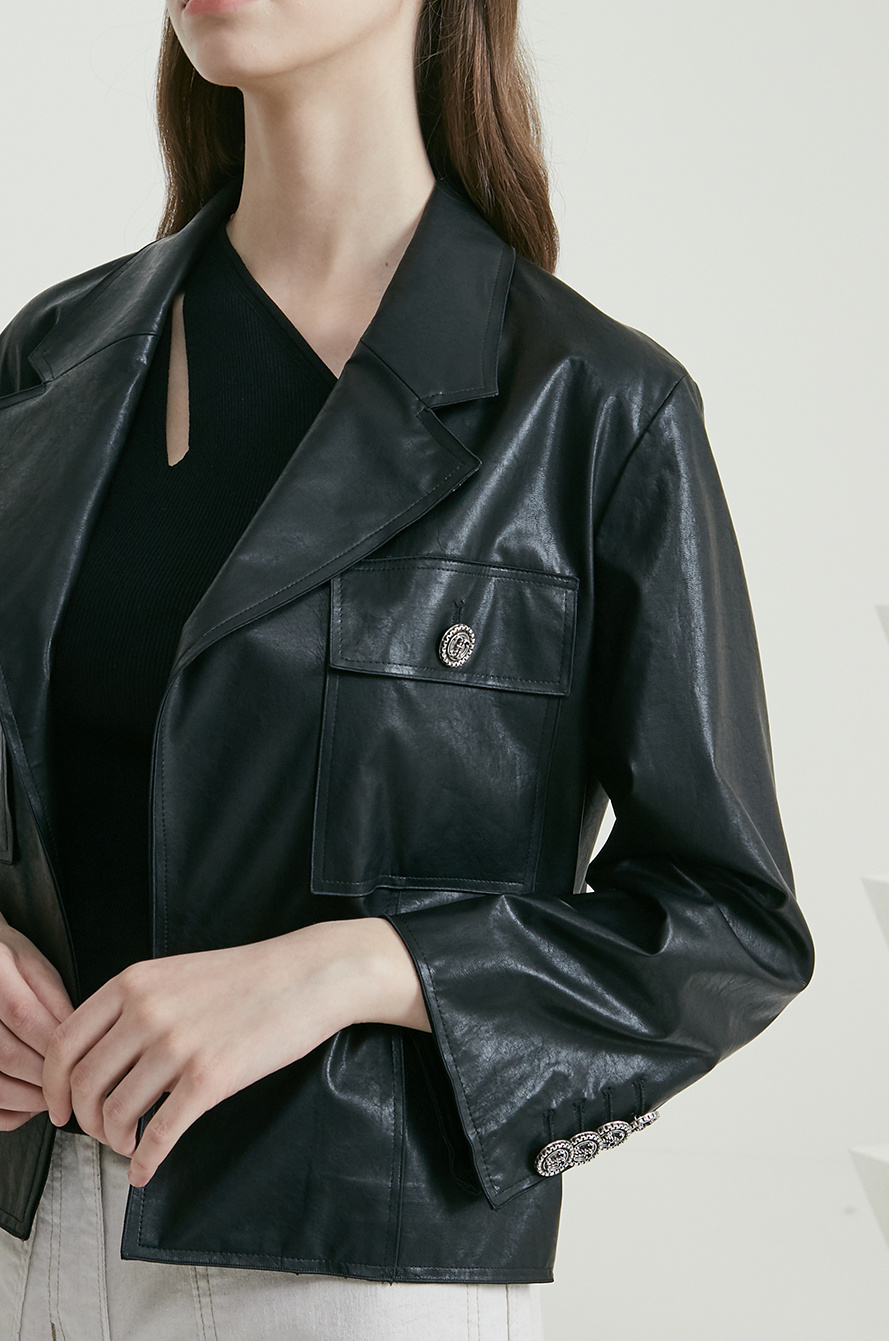 Crop leather jacket