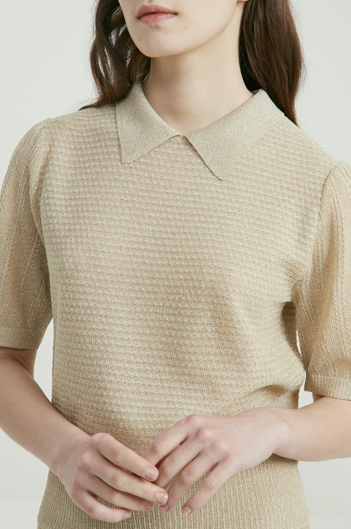 Glitter collar knit top