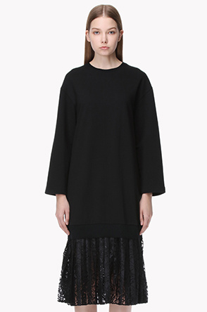 Pleat lace layered sweat dress