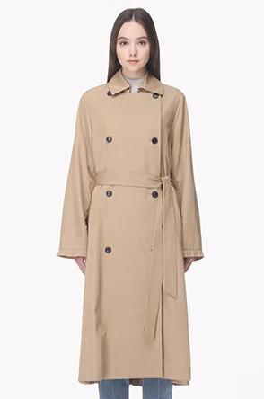 Back pleated double trench coat
