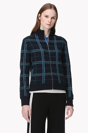 Lambswool blend high neck check cardigan