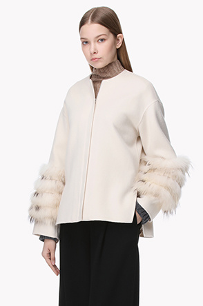 Wool fur sleeve collarless coat
