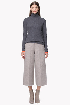 Lambswool blend banding wide fit pants