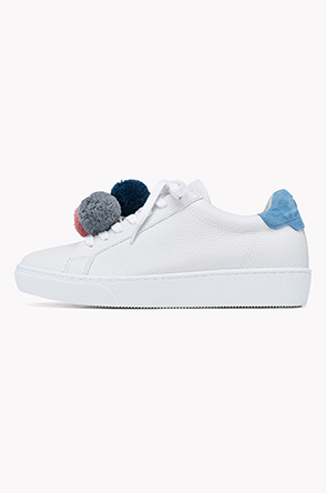 Pom pom lace up sneakers