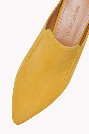 Goat suede pointed toe mules