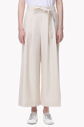 Belted pleat wide pants