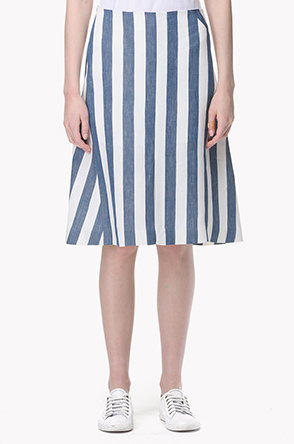 Wide striped A line skirt