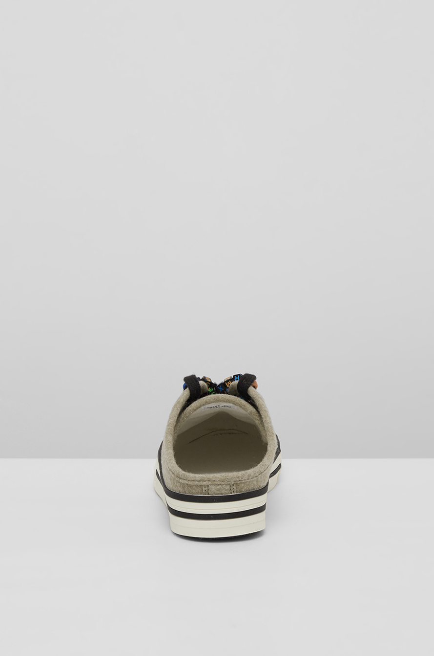 Lettering cube sneakers mules
