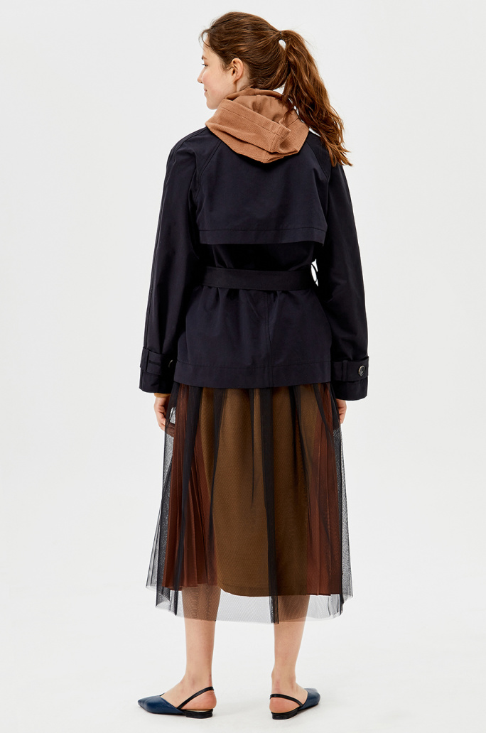 Tulle layer quilting vest lining trench coat