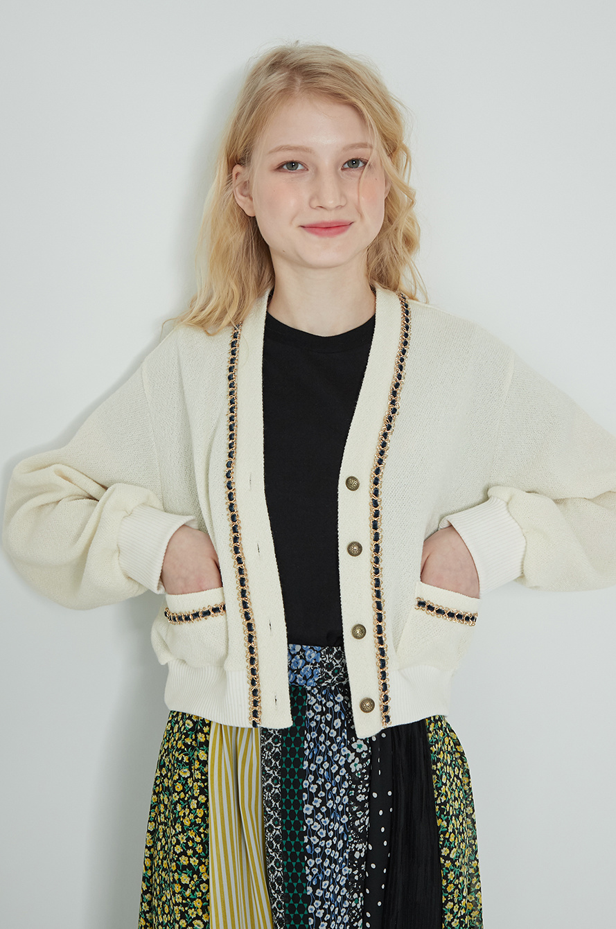 Check point crop cardigan