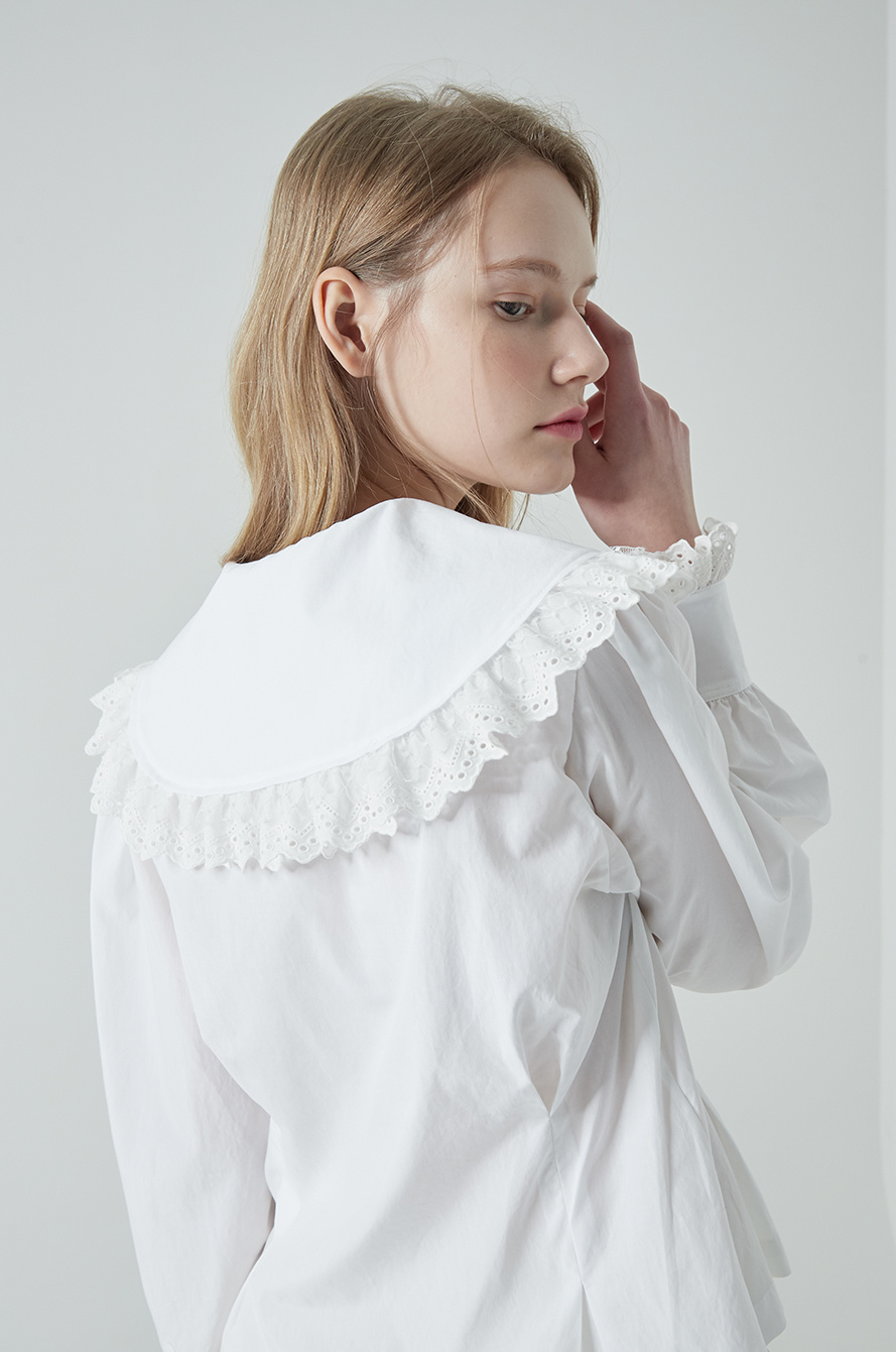 Cutwork embroidered wide collar shirt