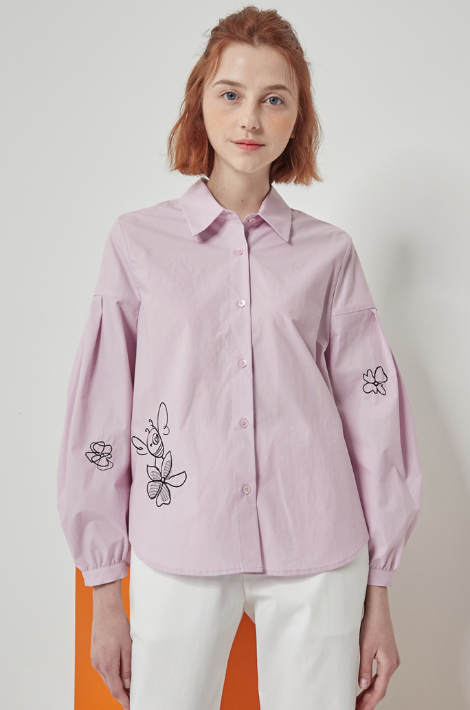 Honey bee embroidery shirt