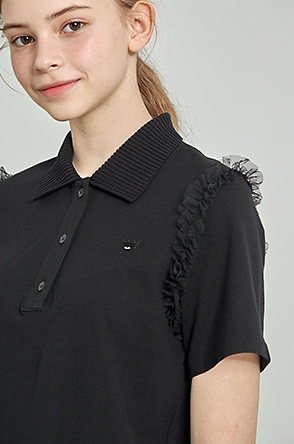 Tulle line collar t-shirt