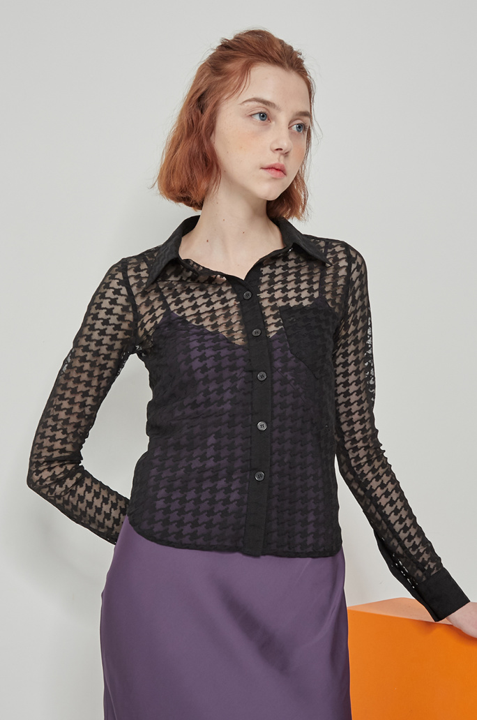 See-through check blouse