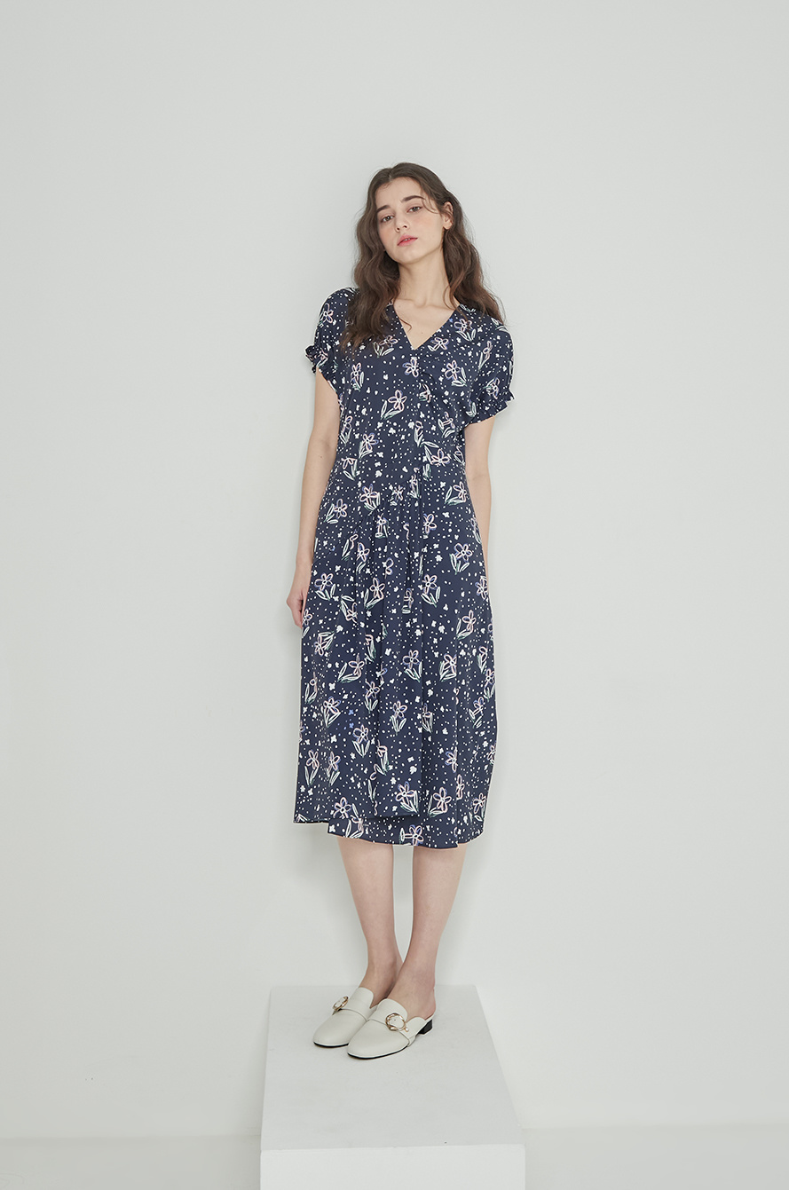 Print shirring dress