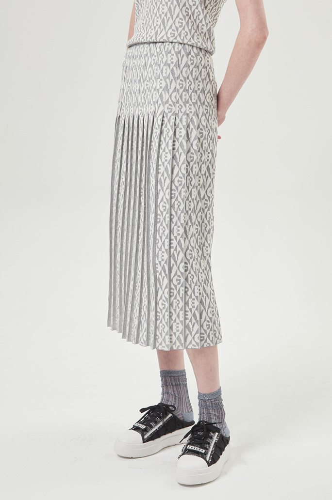 Intarsia pleats skirt