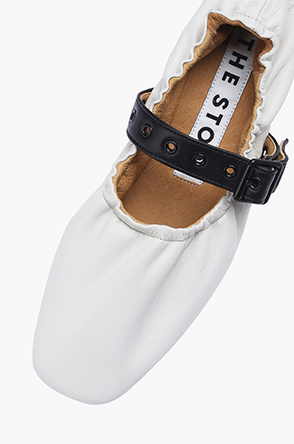 Strap detail lamb leather flat shoes