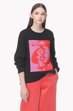 Illustrate jacquard front knit sweatshirt