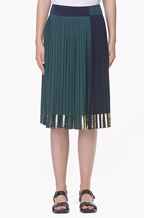 Color blocking pleats skirt