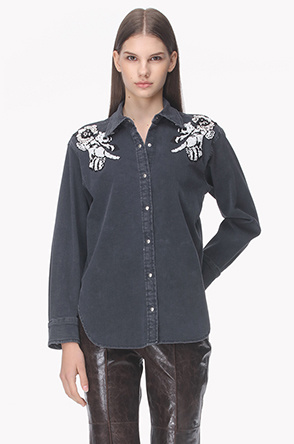 Beads shoulder denim shirts