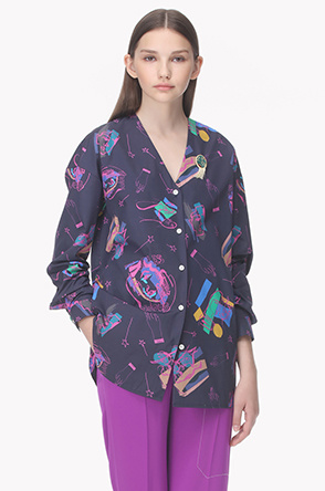 Illustration print collarless shirt