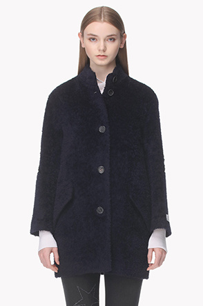 Lambswool blend star embroidery coat