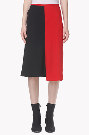Asymmetric hem two tone skirt