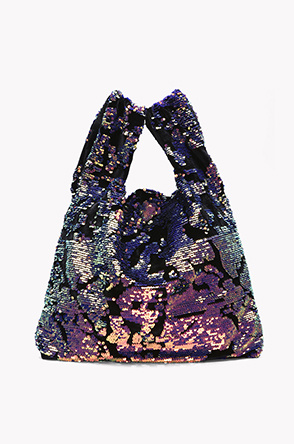 Spangle velvet shopper bag