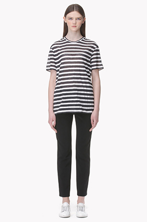 [ESSENTIAL] Striped short sleeve top