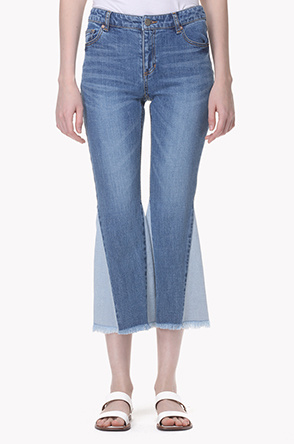 Color block bell bottom jeans