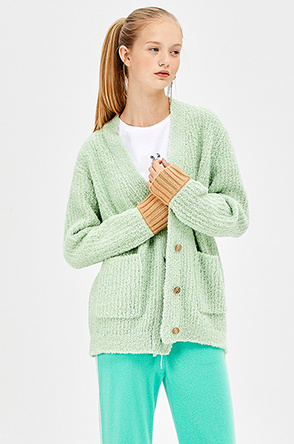 Point back dumble wool cardigan