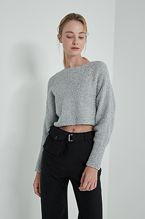 Glitter crop knit top