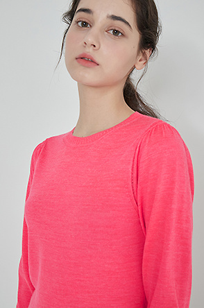 Shirring sleeve knit top