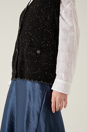Sequin knit vest