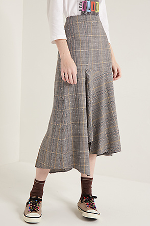 Sequin check skirt