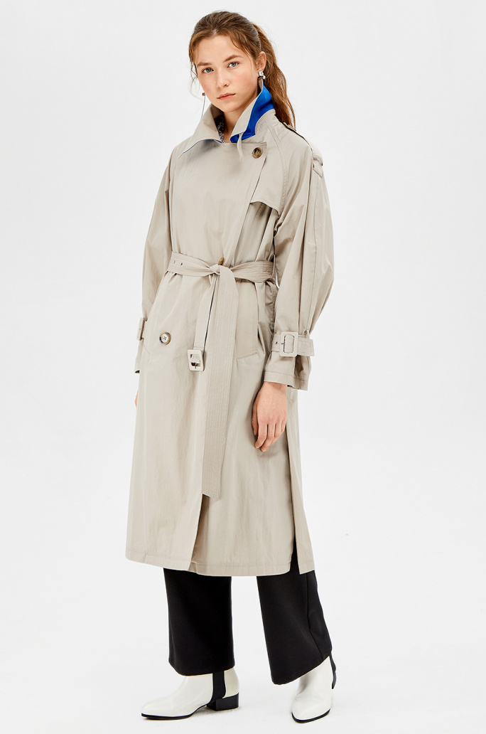 Cotton washing double trench coat