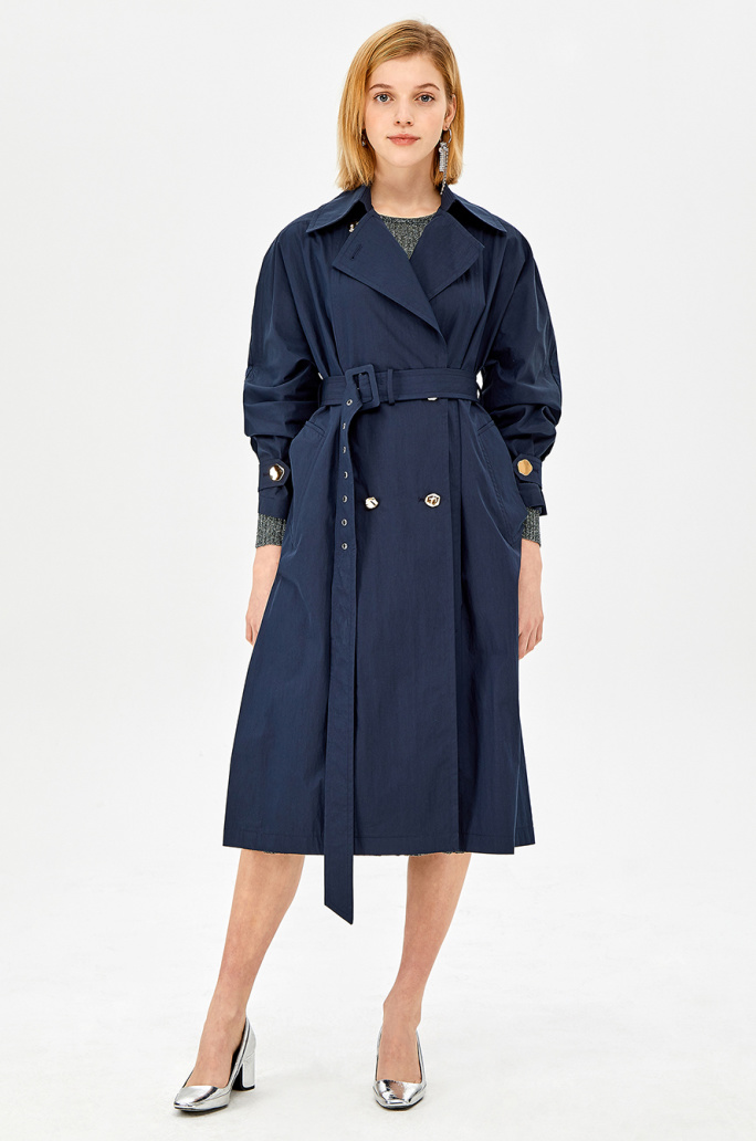 Metal double button trench coat
