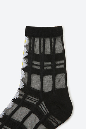 Burnout check flower see-through socks