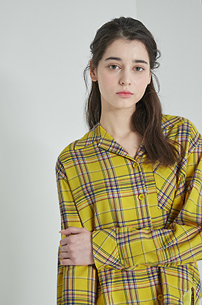 Sequin & embroidery check shirt