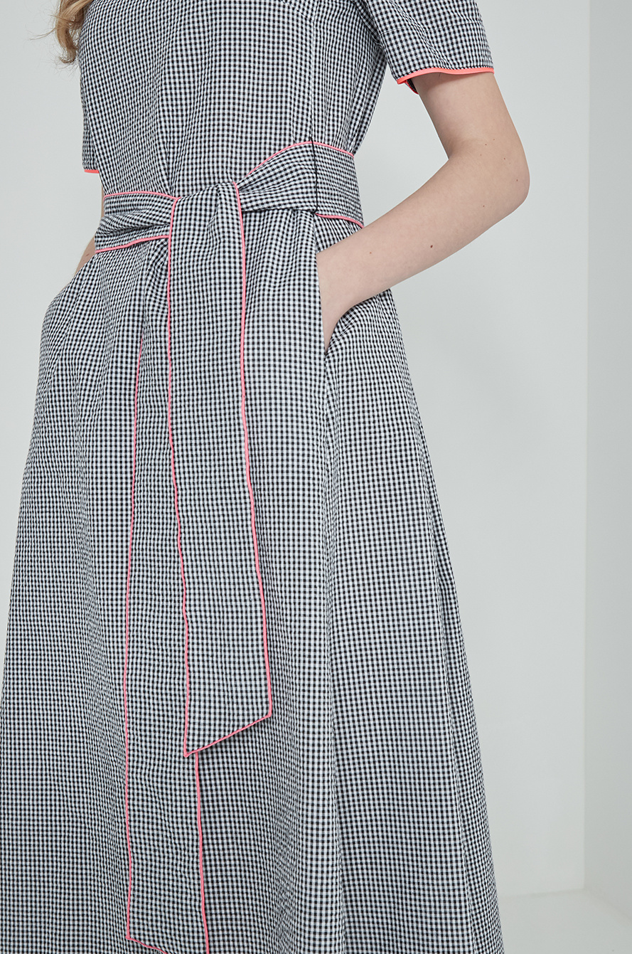 Belted check dress