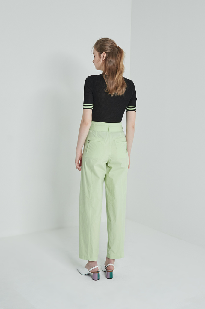 Belted wide pants