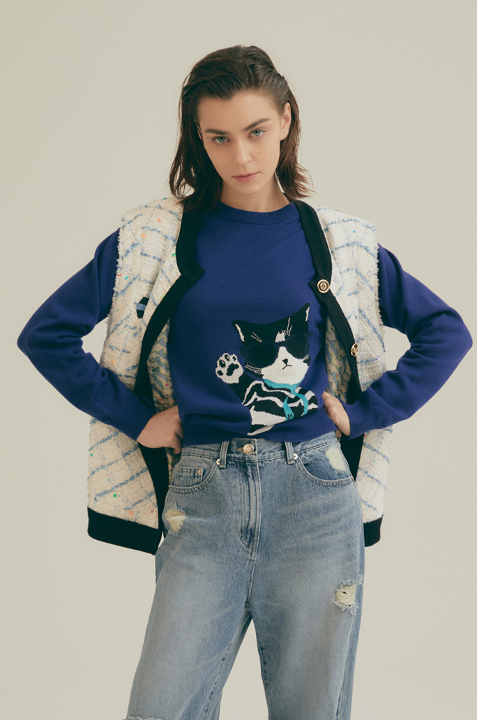 Cats intarsia knit top